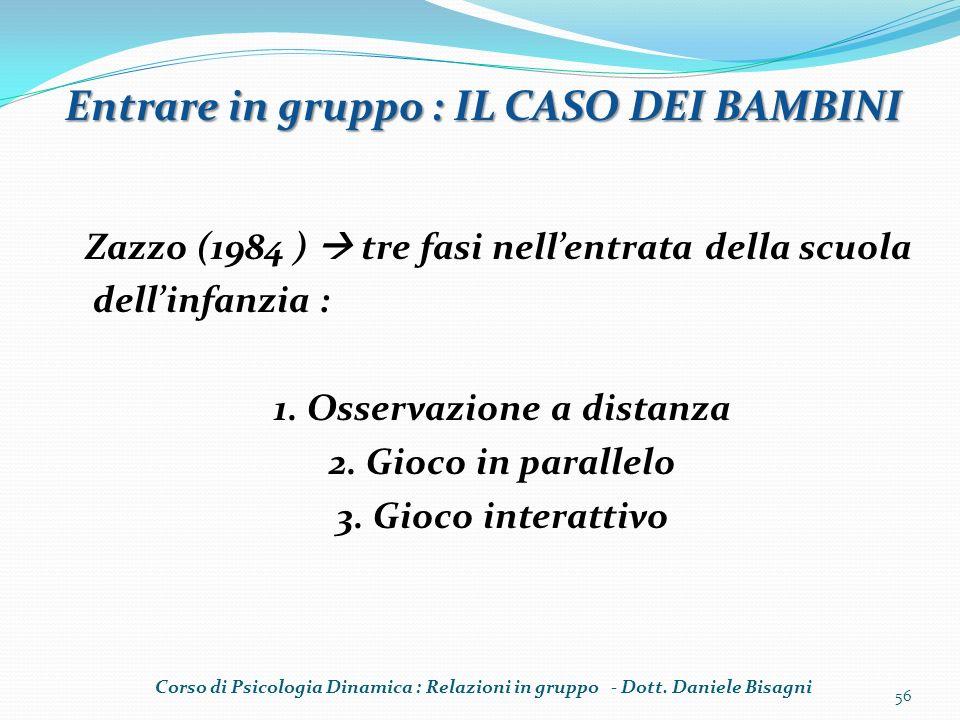 Zazzo (1984 ) tre fasi nellentrata della scuola dellinfanzia : 1. Osservazione a distanza 2. Gioco in parallelo 3. Gioco interattivo 56 Entrare in gru