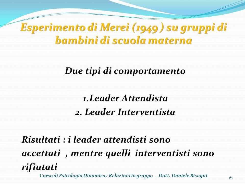 Due tipi di comportamento 1.Leader Attendista 2. Leader Interventista Risultati : i leader attendisti sono accettati, mentre quelli interventisti sono