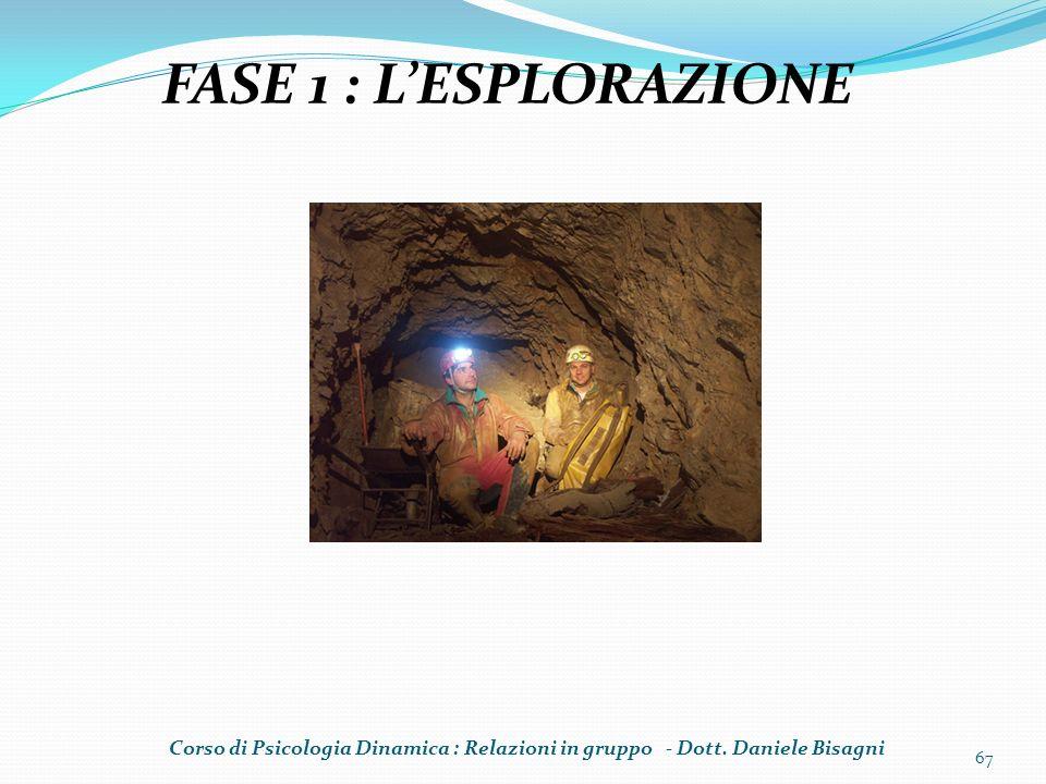 67 FASE 1 : LESPLORAZIONE Corso di Psicologia Dinamica : Relazioni in gruppo - Dott. Daniele Bisagni