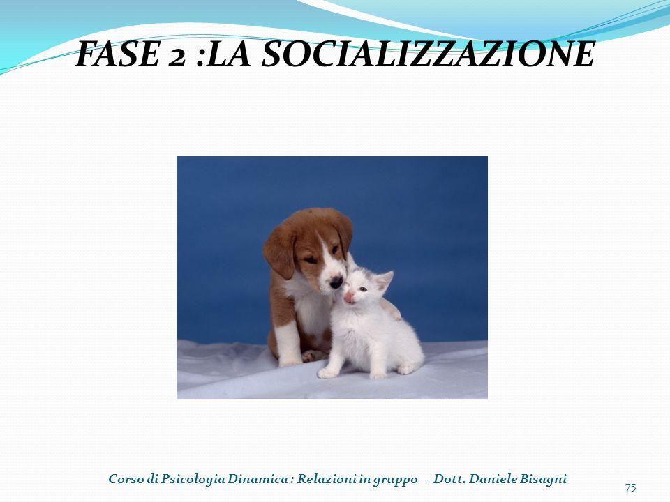 75 FASE 2 :LA SOCIALIZZAZIONE Corso di Psicologia Dinamica : Relazioni in gruppo - Dott. Daniele Bisagni