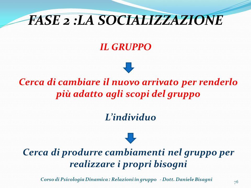 76 FASE 2 :LA SOCIALIZZAZIONE IL GRUPPO Cerca di cambiare il nuovo arrivato per renderlo più adatto agli scopi del gruppo Lindividuo Cerca di produrre