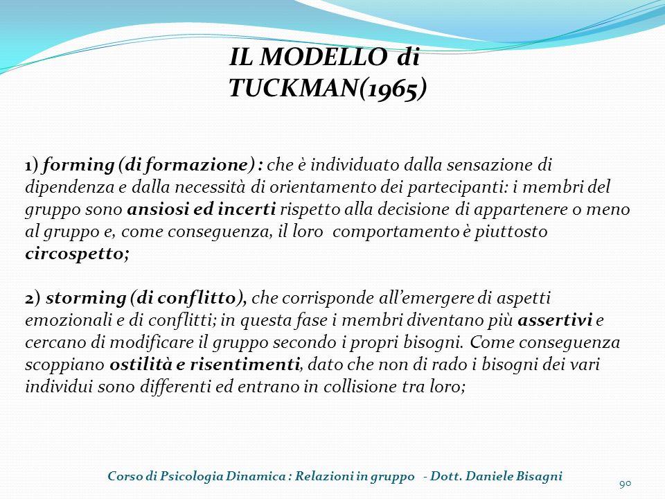 90 IL MODELLO di TUCKMAN(1965) 1) forming (di formazione) : che è individuato dalla sensazione di dipendenza e dalla necessità di orientamento dei par