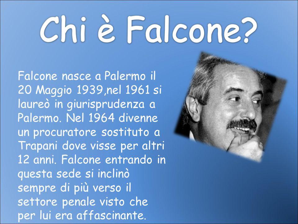 Falcone nasce a Palermo il 20 Maggio 1939,nel 1961 si laureò in giurisprudenza a Palermo. Nel 1964 divenne un procuratore sostituto a Trapani dove vis