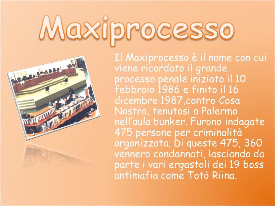 Il Maxiprocesso è il nome con cui viene ricordato il grande processo penale iniziato il 10 febbraio 1986 e finito il 16 dicembre 1987,contro Cosa Nost