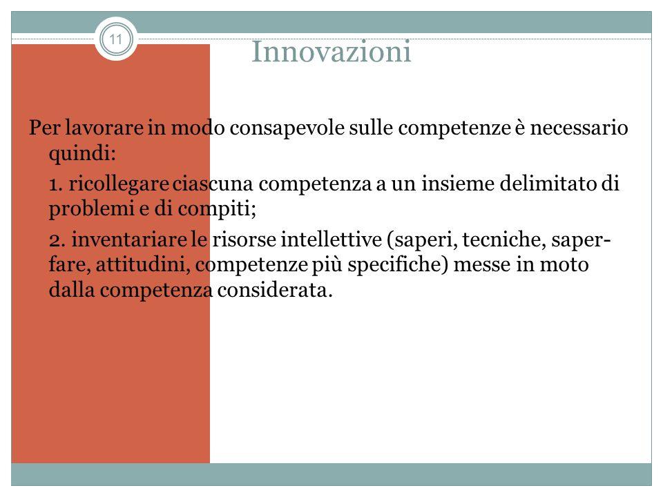 11 Innovazioni Per lavorare in modo consapevole sulle competenze è necessario quindi: 1. ricollegare ciascuna competenza a un insieme delimitato di pr