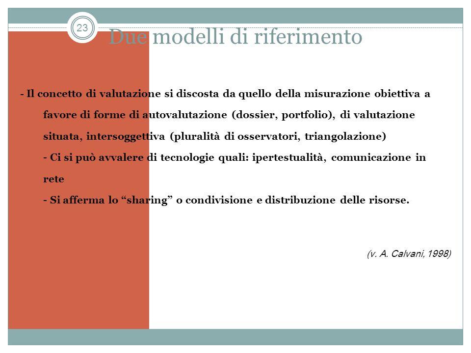 23 Due modelli di riferimento - Il concetto di valutazione si discosta da quello della misurazione obiettiva a favore di forme di autovalutazione (dos