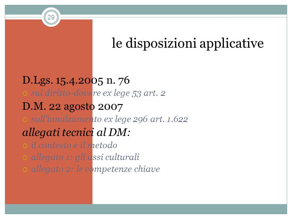 29 le disposizioni applicative D.Lgs. 15.4.2005 n. 76 sul diritto-dovere ex lege 53 art. 2 D.M. 22 agosto 2007 sullinnalzamento ex lege 296 art. 1.622