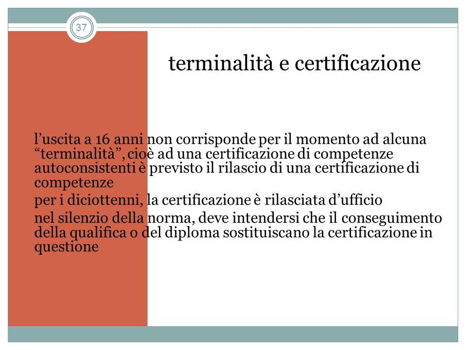 37 terminalità e certificazione luscita a 16 anni non corrisponde per il momento ad alcuna terminalità, cioè ad una certificazione di competenze autoc