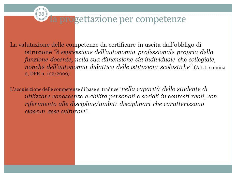 38 la progettazione per competenze La valutazione delle competenze da certificare in uscita dallobbligo di istruzione è espressione dellautonomia prof