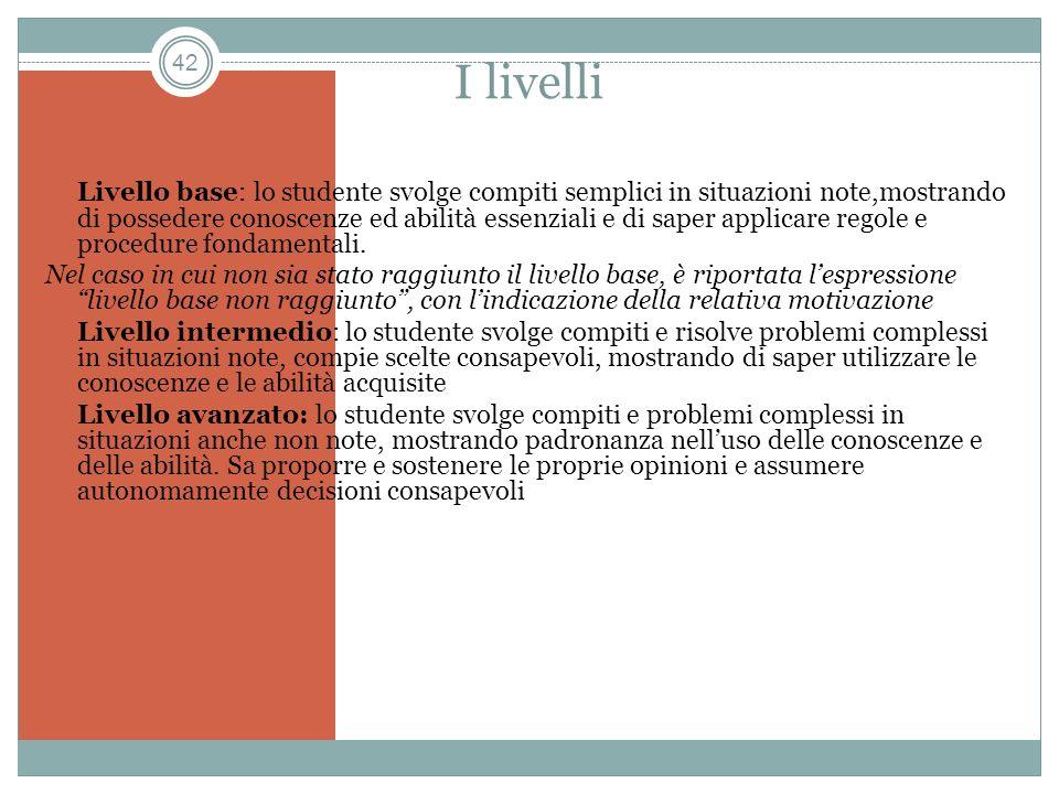 42 I livelli Livello base: lo studente svolge compiti semplici in situazioni note,mostrando di possedere conoscenze ed abilità essenziali e di saper a