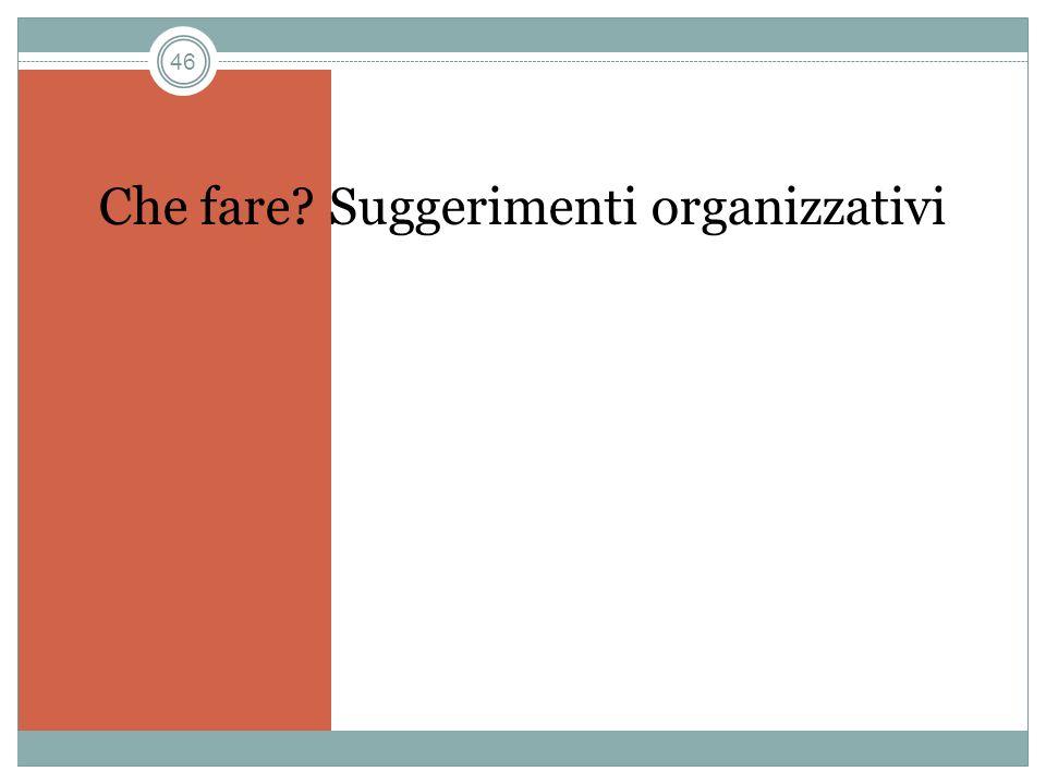 46 Che fare? Suggerimenti organizzativi