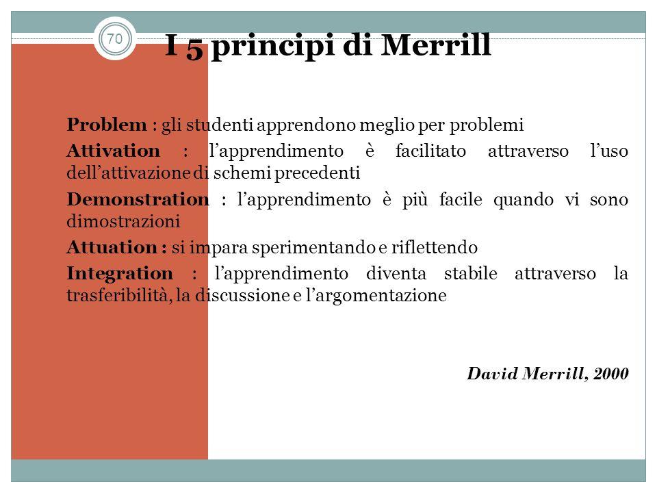 70 I 5 principi di Merrill 1. Problem : gli studenti apprendono meglio per problemi 2. Attivation : lapprendimento è facilitato attraverso luso dellat