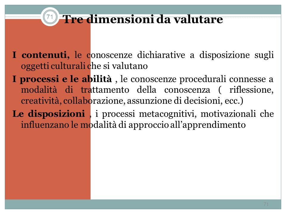 71 Tre dimensioni da valutare I contenuti, le conoscenze dichiarative a disposizione sugli oggetti culturali che si valutano I processi e le abilità,