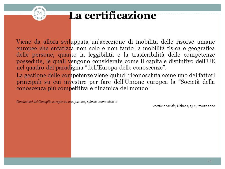 74 La certificazione Viene da allora sviluppata unaccezione di mobilità delle risorse umane europee che enfatizza non solo e non tanto la mobilità fis