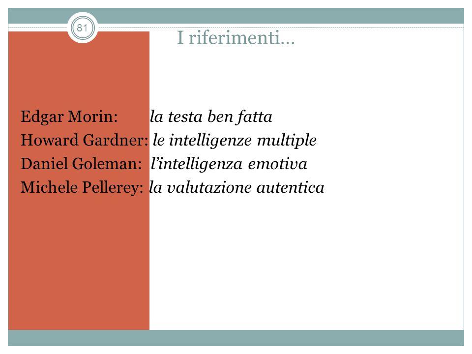 81 I riferimenti… Edgar Morin: la testa ben fatta Howard Gardner: le intelligenze multiple Daniel Goleman: lintelligenza emotiva Michele Pellerey: la