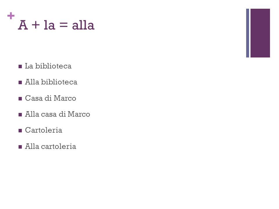 + A + la = alla La biblioteca Alla biblioteca Casa di Marco Alla casa di Marco Cartoleria Alla cartoleria