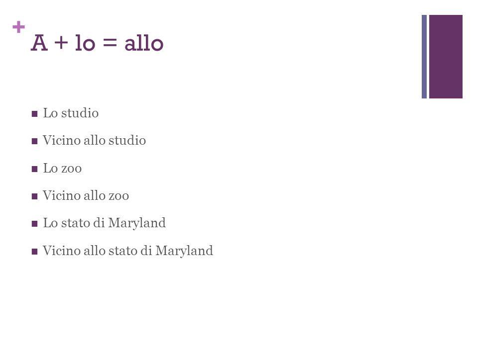 + A + lo = allo Lo studio Vicino allo studio Lo zoo Vicino allo zoo Lo stato di Maryland Vicino allo stato di Maryland
