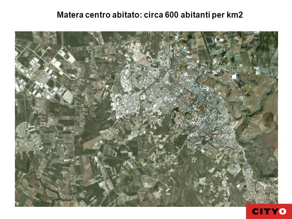 Matera centro abitato: circa 600 abitanti per km2