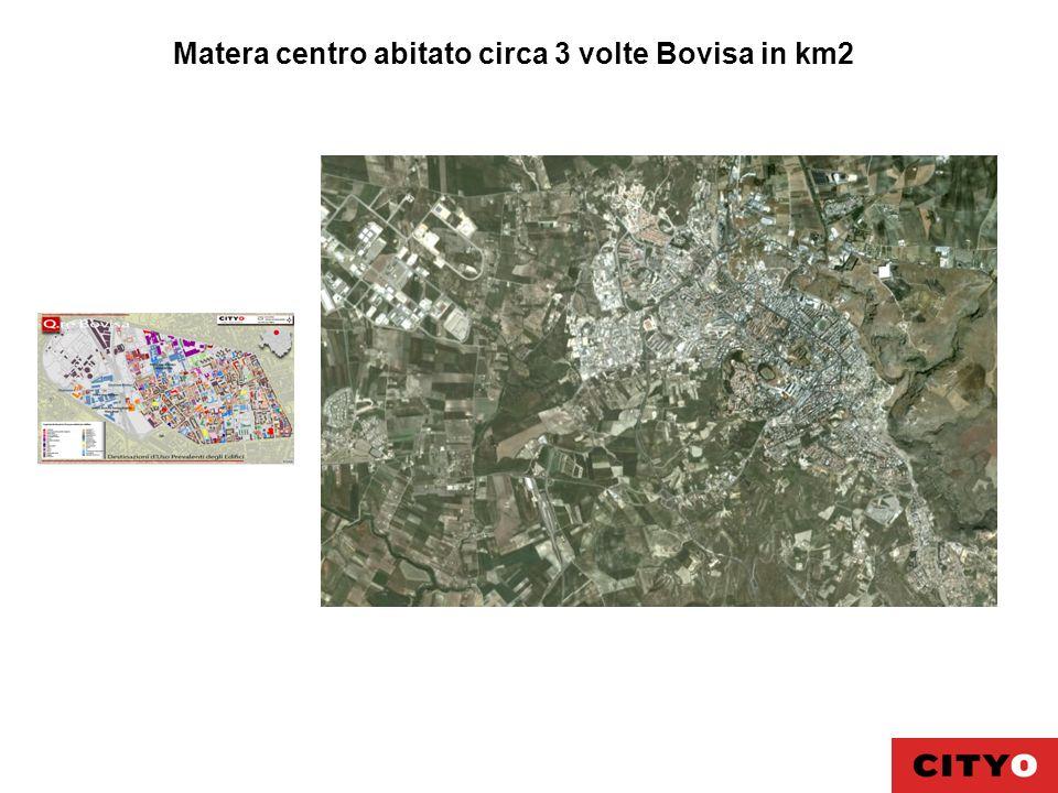 Matera centro abitato circa 3 volte Bovisa in km2
