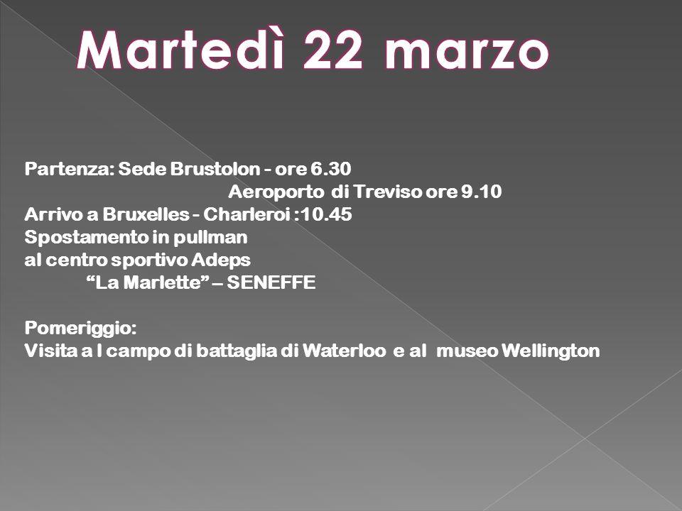 Partenza: Sede Brustolon - ore 6.30 Aeroporto di Treviso ore 9.10 Arrivo a Bruxelles - Charleroi :10.45 Spostamento in pullman al centro sportivo Adeps La Marlette – SENEFFE Pomeriggio: Visita a l campo di battaglia di Waterloo e al museo Wellington