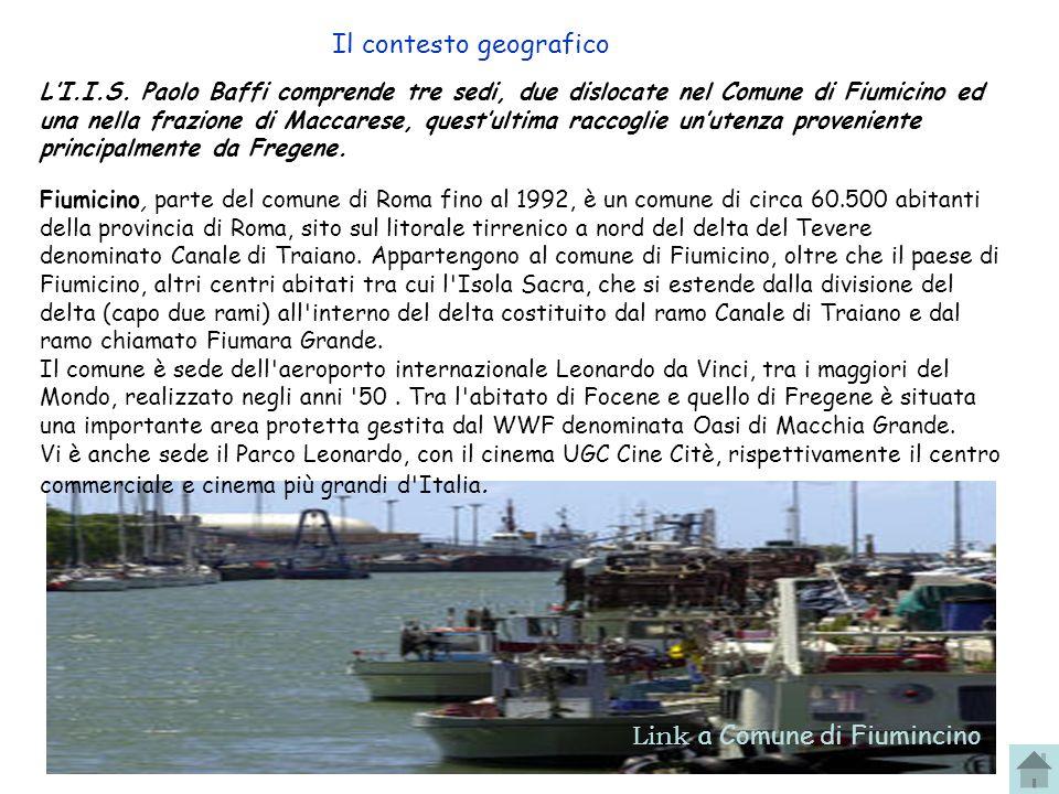 4 Il contesto geografico Link a Comune di Fiumincino Fiumicino, parte del comune di Roma fino al 1992, è un comune di circa 60.500 abitanti della provincia di Roma, sito sul litorale tirrenico a nord del delta del Tevere denominato Canale di Traiano.