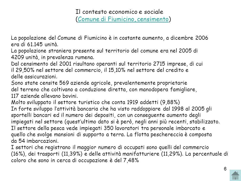6 Il contesto economico e sociale (Comune di Fiumicino, censimento)Comune di Fiumicino, censimento La popolazione del Comune di Fiumicino è in costante aumento, a dicembre 2006 era di 61.145 unità.