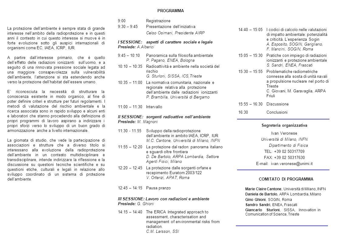 14:40 – 15:05I codici di calcolo nelle valutazioni di impatto ambientale: potenzialità e criticità. Lesperienza Sogin A. Esposito, SOGIN, Garigliano,