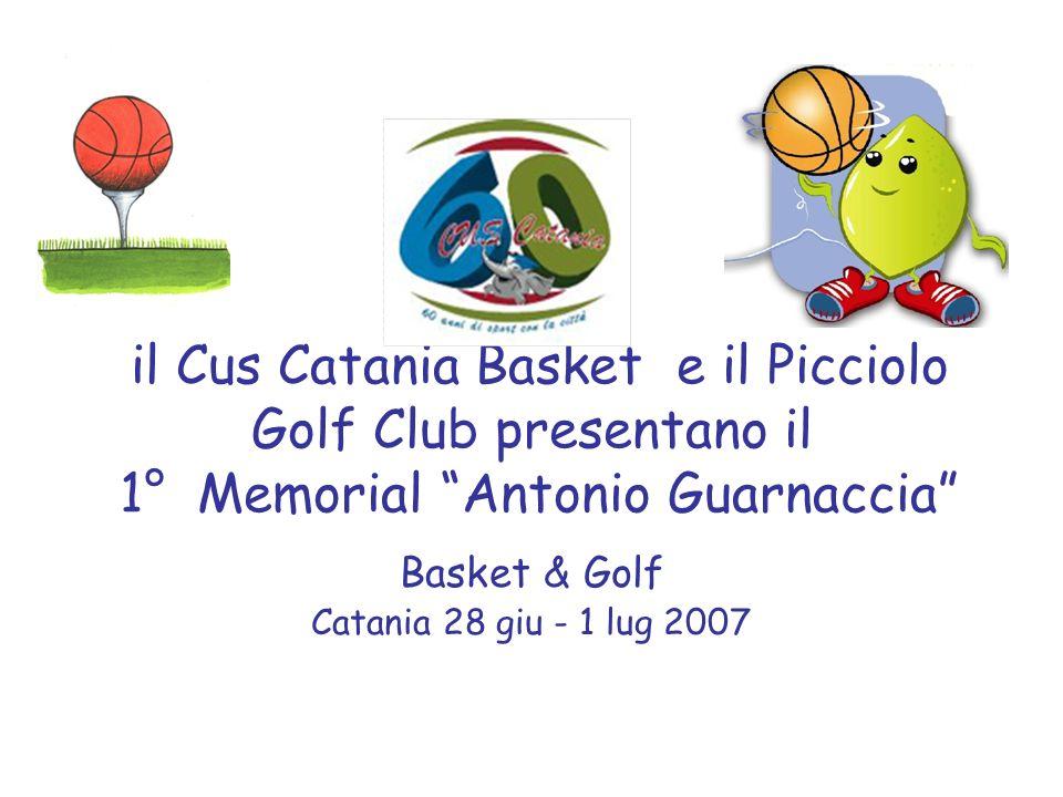 il Cus Catania Basket e il Picciolo Golf Club presentano il 1° Memorial Antonio Guarnaccia Basket & Golf Catania 28 giu - 1 lug 2007