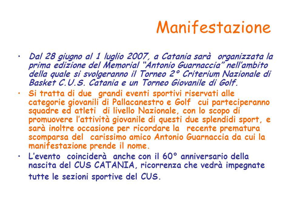 Manifestazione Dal 28 giugno al 1 luglio 2007, a Catania sarà organizzata la prima edizione del Memorial Antonio Guarnaccia nellambito della quale si svolgeranno il Torneo 2° Criterium Nazionale di Basket C.U.S.