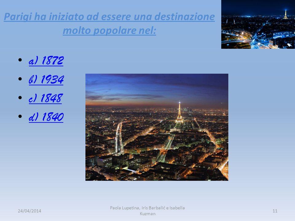 Parigi ha iniziato ad essere una destinazione molto popolare nel: a) 1872 b) 1934 c) 1848 d) 1840 24/04/201411 Paola Lupetina, Iris Barbalić e Isabell