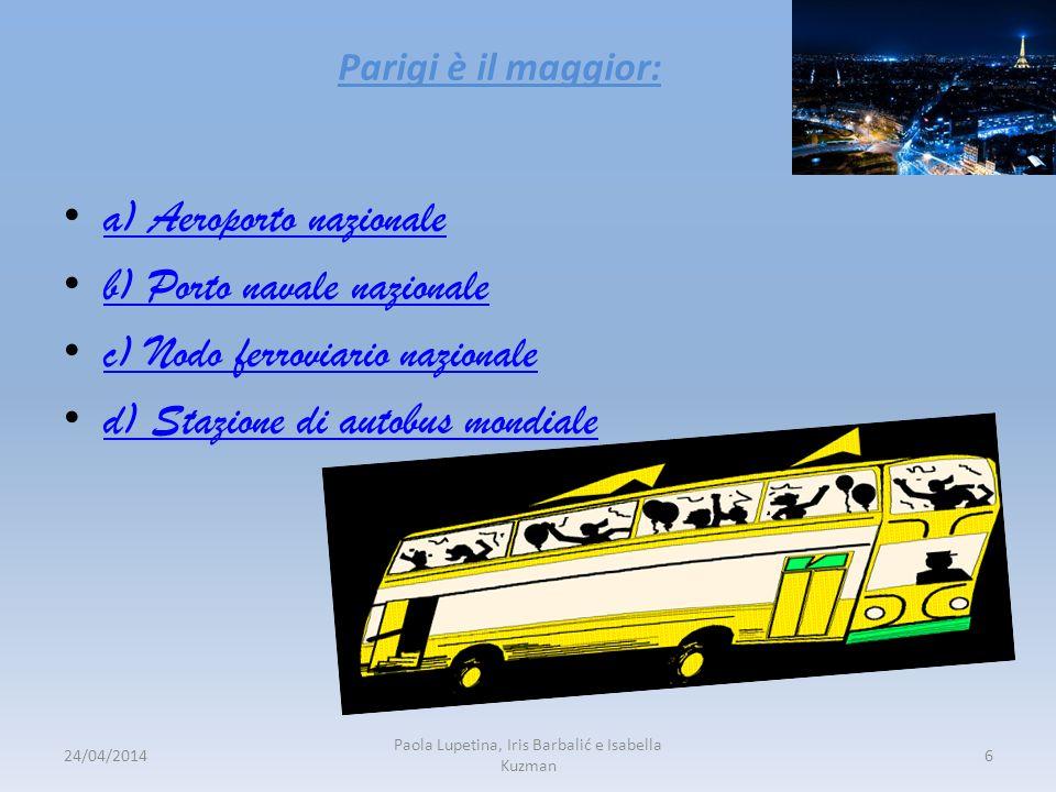 Parigi è il maggior: a) Aeroporto nazionale b) Porto navale nazionale c) Nodo ferroviario nazionale d) Stazione di autobus mondiale 24/04/20146 Paola