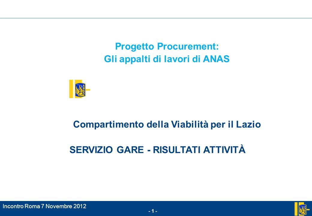 Incontro Roma 7 Novembre 2012 - 1 - Progetto Procurement: Gli appalti di lavori di ANAS Compartimento della Viabilità per il Lazio SERVIZIO GARE - RISULTATI ATTIVITÀ