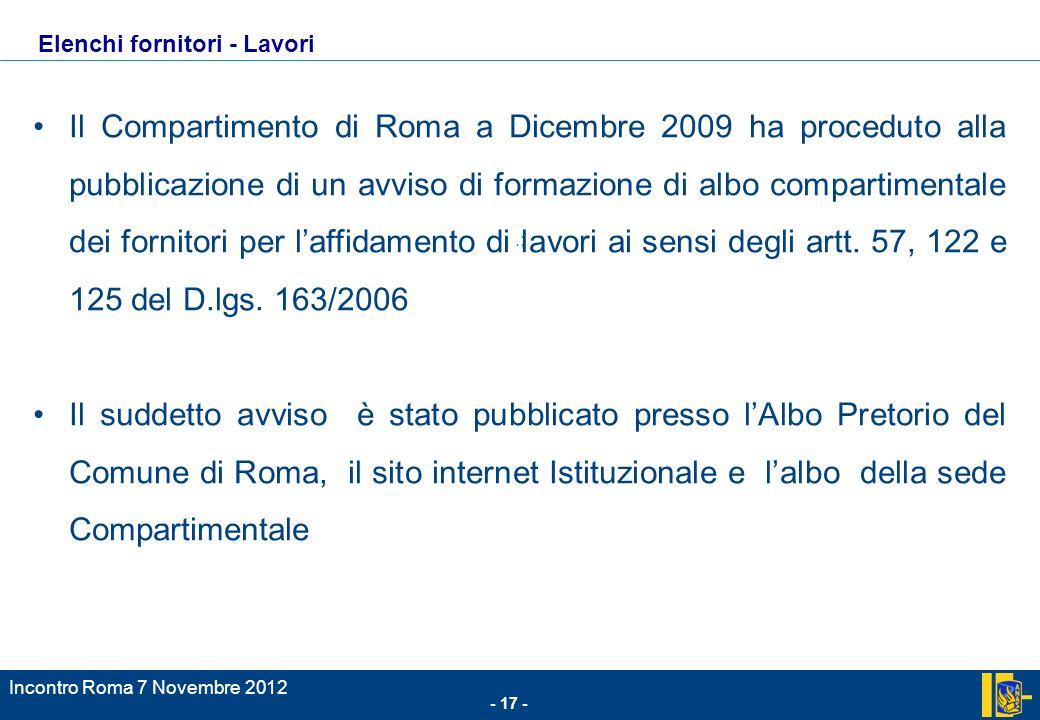 - 17 - Incontro Roma 7 Novembre 2012 Il Compartimento di Roma a Dicembre 2009 ha proceduto alla pubblicazione di un avviso di formazione di albo compartimentale dei fornitori per laffidamento di lavori ai sensi degli artt.
