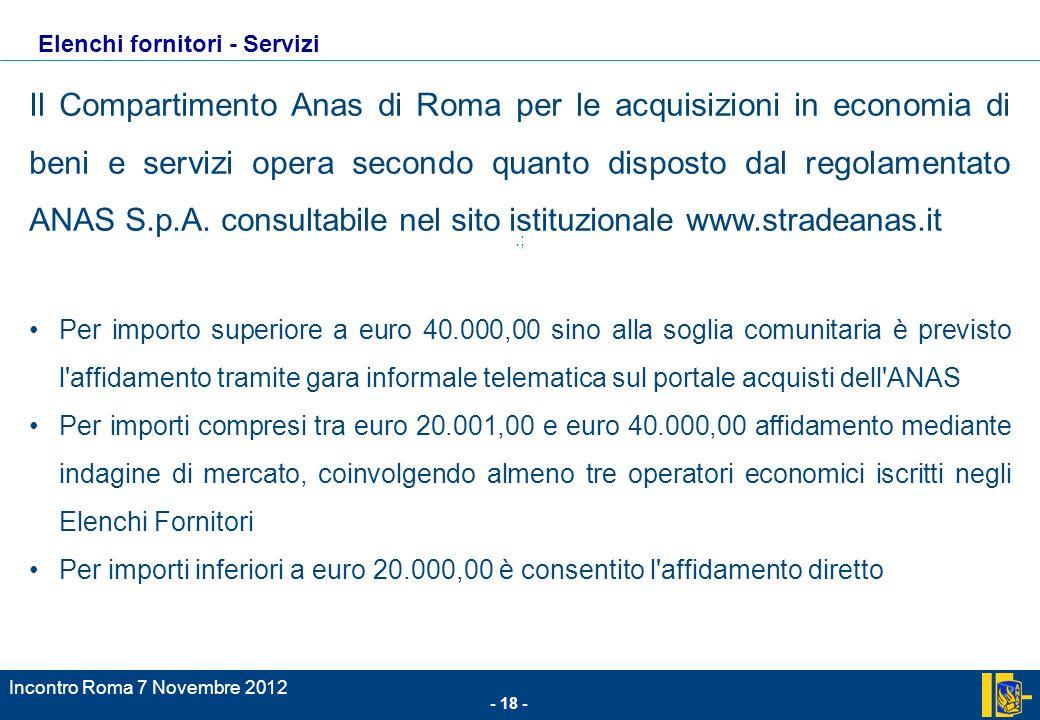 - 18 - Incontro Roma 7 Novembre 2012.; Il Compartimento Anas di Roma per le acquisizioni in economia di beni e servizi opera secondo quanto disposto dal regolamentato ANAS S.p.A.