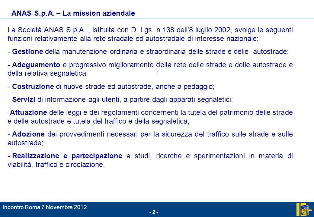- 2 - Incontro Roma 7 Novembre 2012.; La Società ANAS S.p.A., istituita con D. Lgs. n.138 dell8 luglio 2002, svolge le seguenti funzioni relativamente