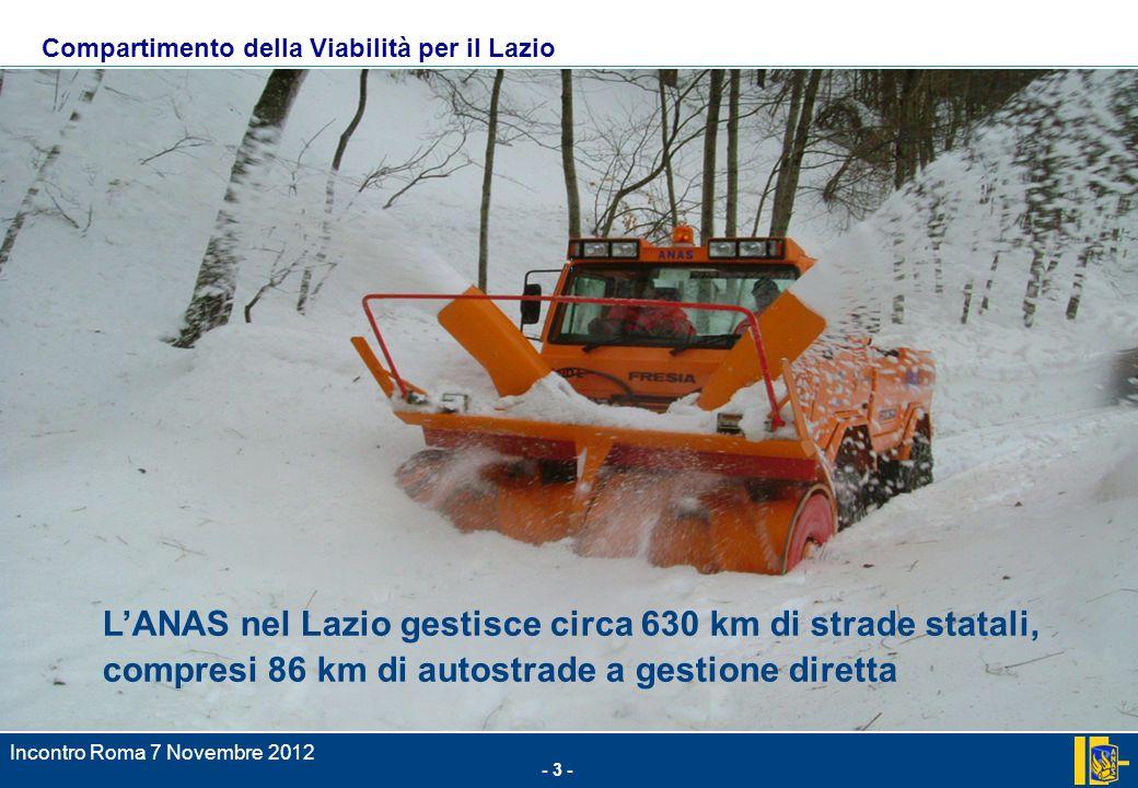 - 3 - Incontro Roma 7 Novembre 2012.; LANAS nel Lazio gestisce circa 630 km di strade statali, compresi 86 km di autostrade a gestione diretta Compartimento della Viabilità per il Lazio