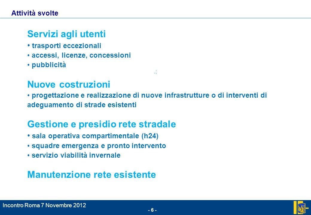 - 6 - Incontro Roma 7 Novembre 2012.; Attività svolte Servizi agli utenti trasporti eccezionali accessi, licenze, concessioni pubblicità Nuove costruz