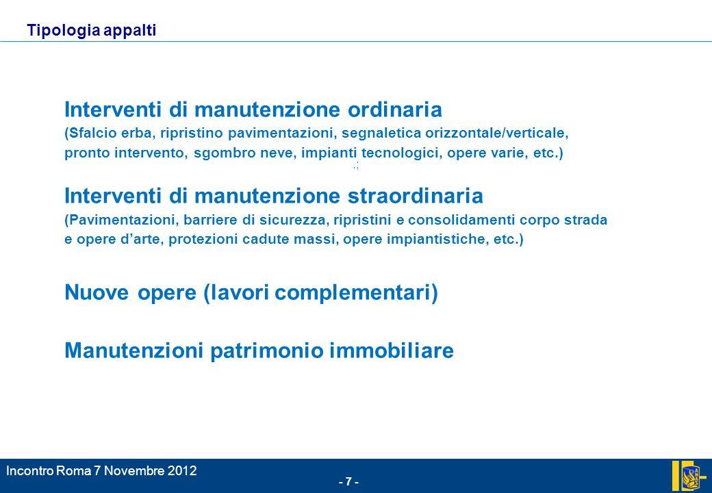 - 7 - Incontro Roma 7 Novembre 2012.; Tipologia appalti Interventi di manutenzione ordinaria (Sfalcio erba, ripristino pavimentazioni, segnaletica ori
