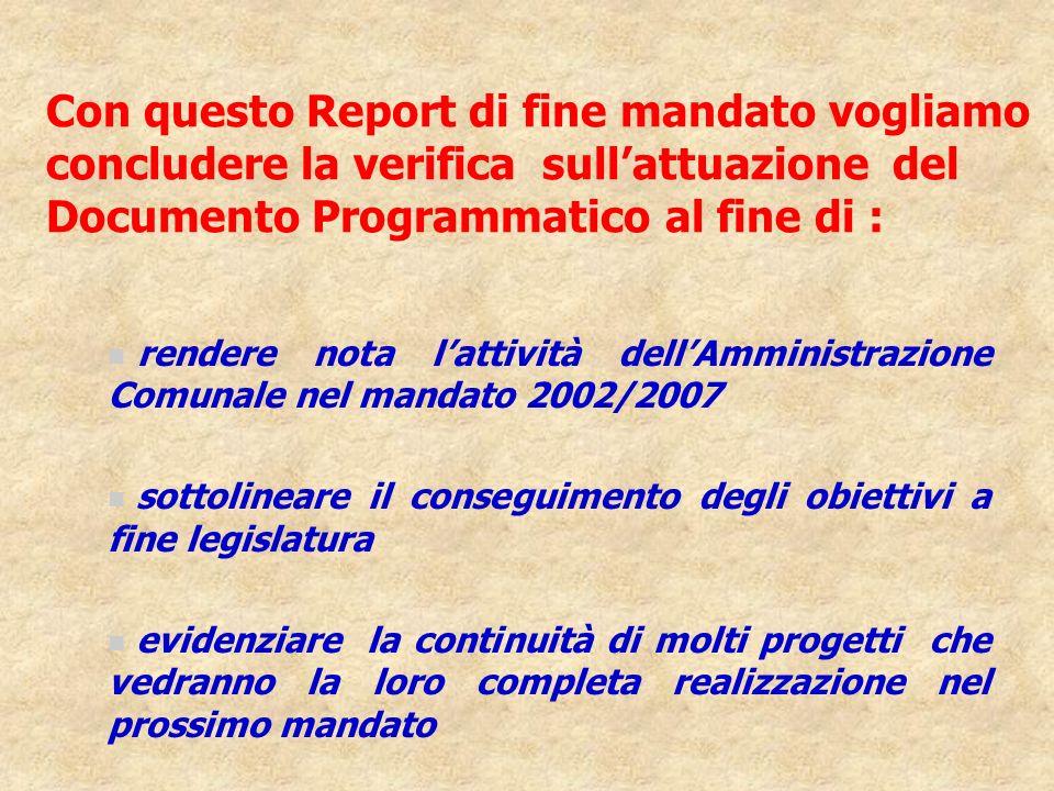 Con questo Report di fine mandato vogliamo concludere la verifica sullattuazione del Documento Programmatico al fine di : n rendere nota lattività del