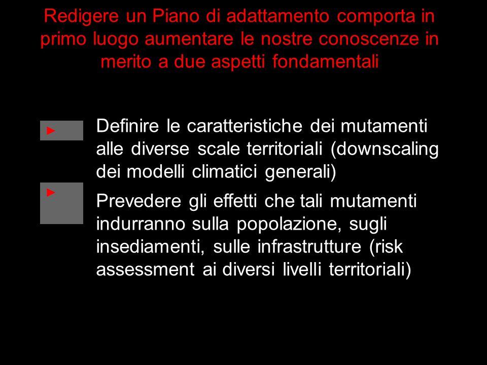 Definire le caratteristiche dei mutamenti alle diverse scale territoriali (downscaling dei modelli climatici generali) Prevedere gli effetti che tali