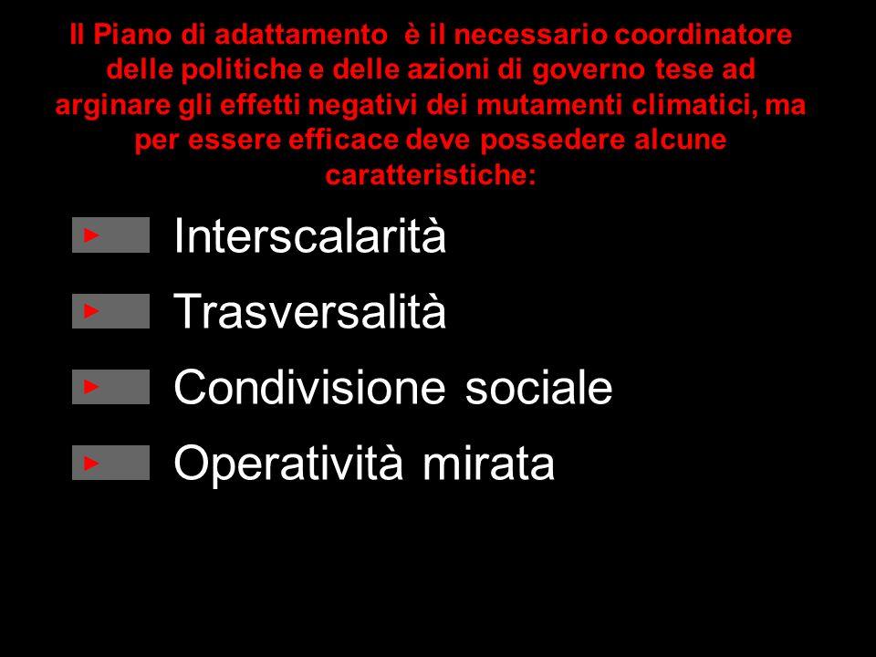 Interscalarità Trasversalità Condivisione sociale Operatività mirata Il Piano di adattamento è il necessario coordinatore delle politiche e delle azio