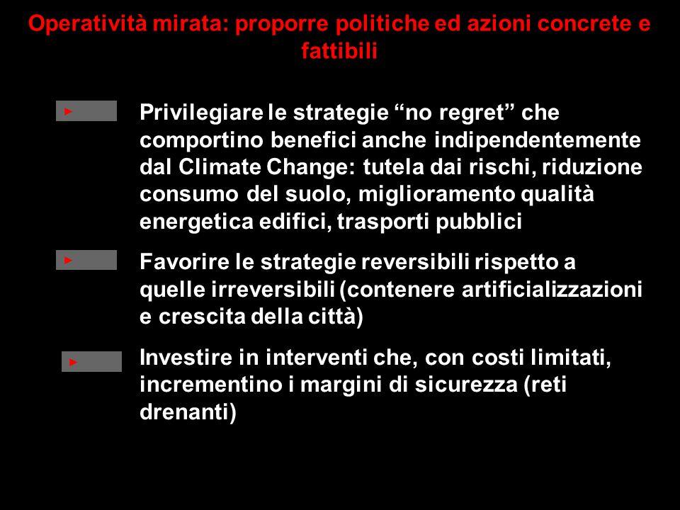 Privilegiare le strategie no regret che comportino benefici anche indipendentemente dal Climate Change: tutela dai rischi, riduzione consumo del suolo