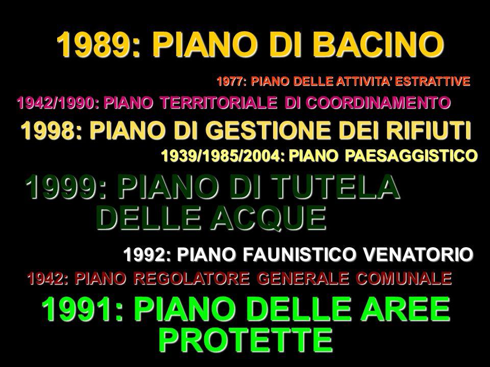 1989: PIANO DI BACINO 1977: PIANO DELLE ATTIVITA ESTRATTIVE 1999: PIANO DI TUTELA DELLE ACQUE 1998: PIANO DI GESTIONE DEI RIFIUTI 1942/1990: PIANO TER