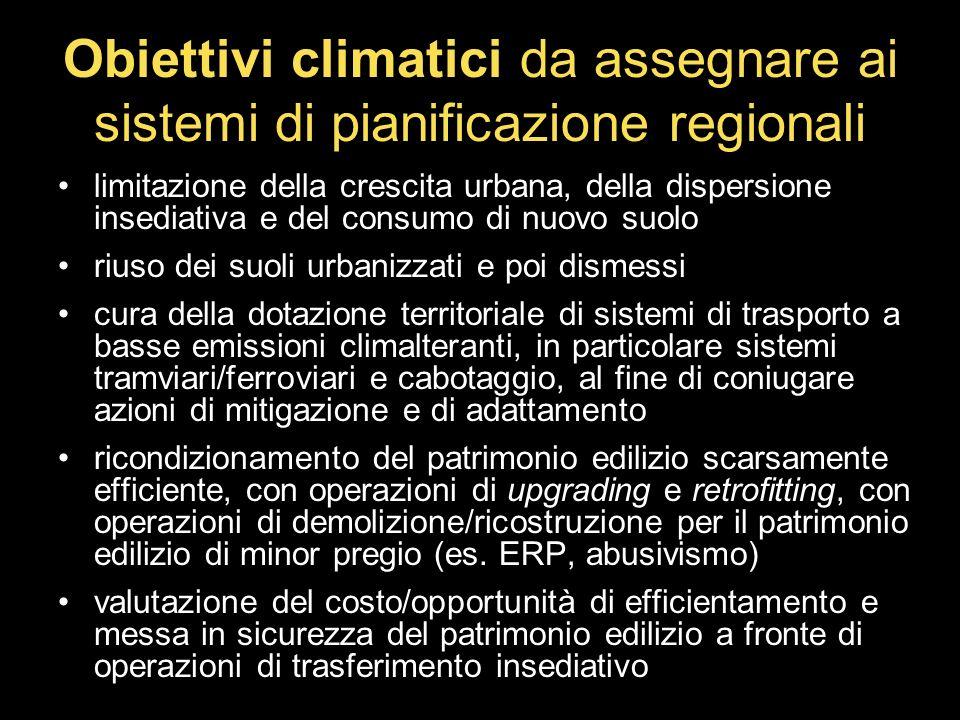 Obiettivi climatici da assegnare ai sistemi di pianificazione regionali limitazione della crescita urbana, della dispersione insediativa e del consumo