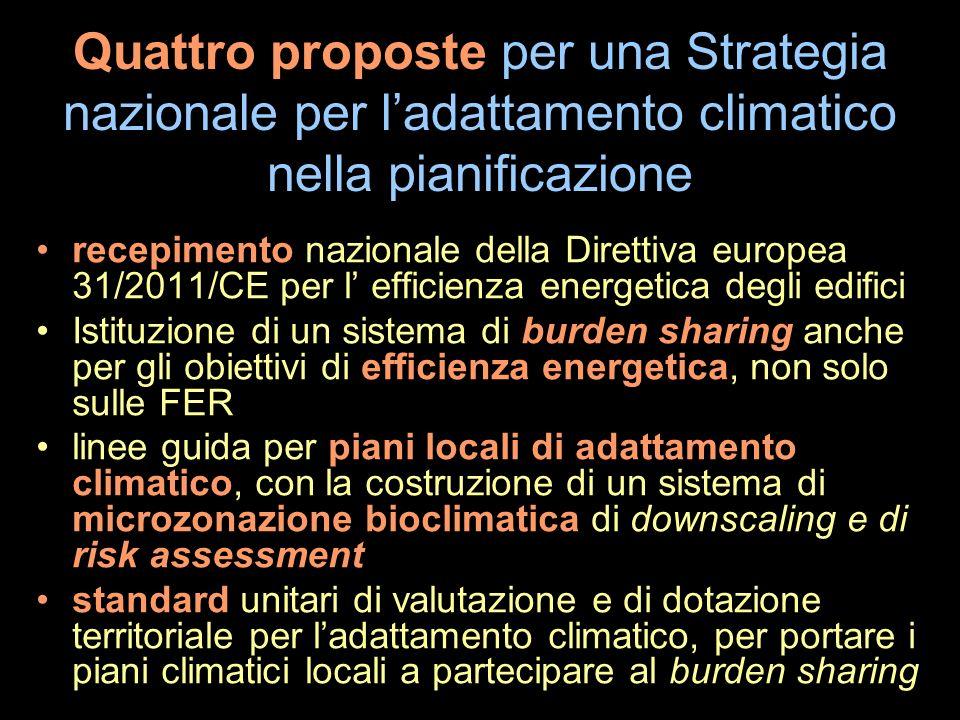 Quattro proposte per una Strategia nazionale per ladattamento climatico nella pianificazione recepimento nazionale della Direttiva europea 31/2011/CE