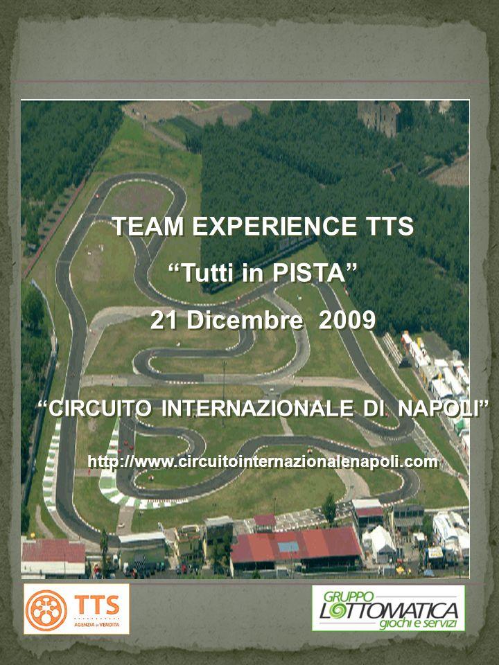 PROGRAMMA TEAMWORKING PRESSO IL CIRCUITO INTERNAZIONALE NAPOLI 2009 PROGRAMMA TEAMWORKING PRESSO IL CIRCUITO INTERNAZIONALE NAPOLI 2009 TEAM EXPERIENCE TTS Tutti in PISTA 21 Dicembre 2009 CIRCUITO INTERNAZIONALE DI NAPOLI http://www.circuitointernazionalenapoli.com TEAM EXPERIENCE TTS Tutti in PISTA 21 Dicembre 2009 CIRCUITO INTERNAZIONALE DI NAPOLI http://www.circuitointernazionalenapoli.com