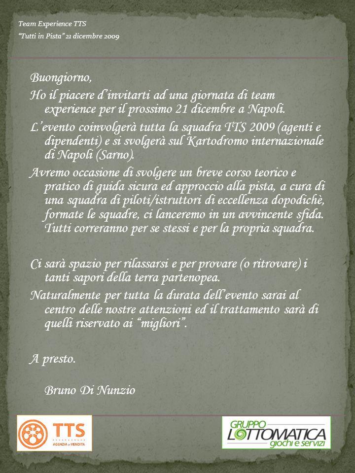 Buongiorno, Ho il piacere dinvitarti ad una giornata di team experience per il prossimo 21 dicembre a Napoli. Levento coinvolgerà tutta la squadra TTS