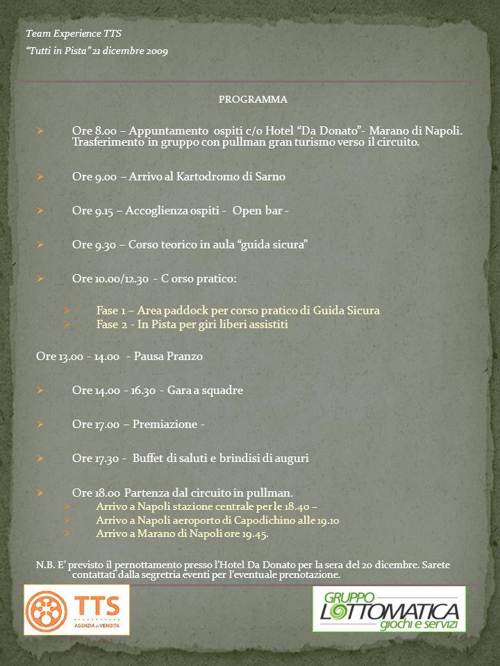 PROGRAMMA Ore 8.00 – Appuntamento ospiti c/o Hotel Da Donato- Marano di Napoli.
