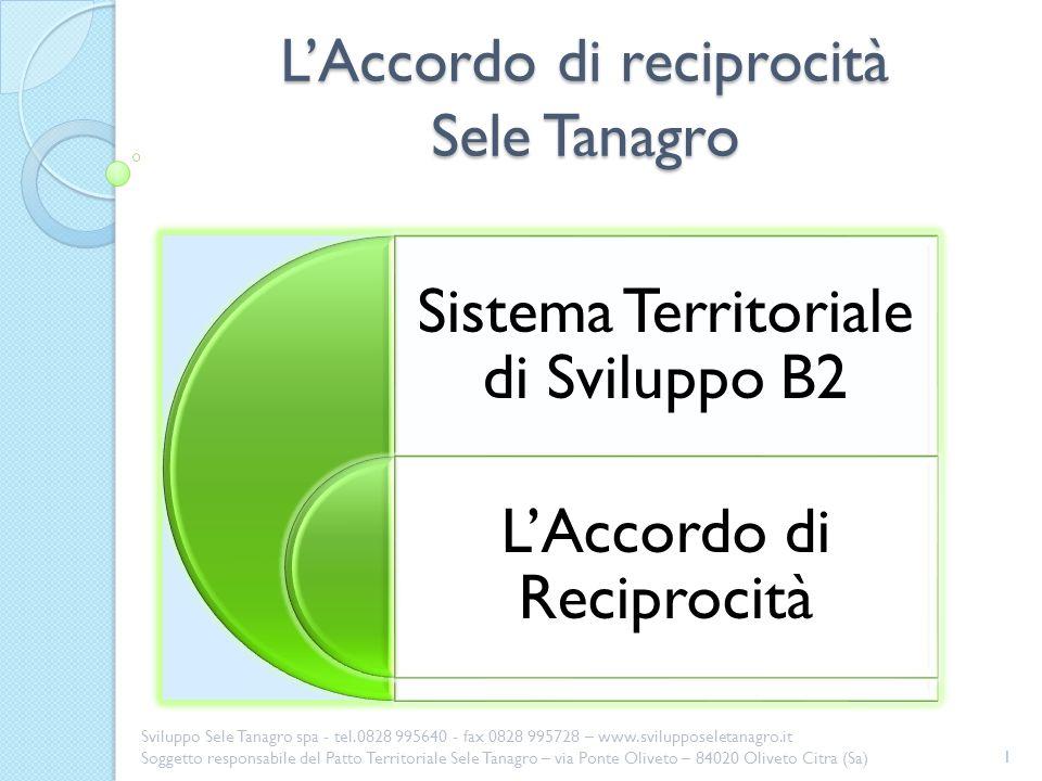 LAccordo di reciprocità 2 Sviluppo Sele Tanagro spa - tel.0828 995640 - fax 0828 995728 – www.svilupposeletanagro.it Soggetto responsabile del Patto Territoriale Sele Tanagro – via Ponte Oliveto – 84020 Oliveto Citra (Sa)