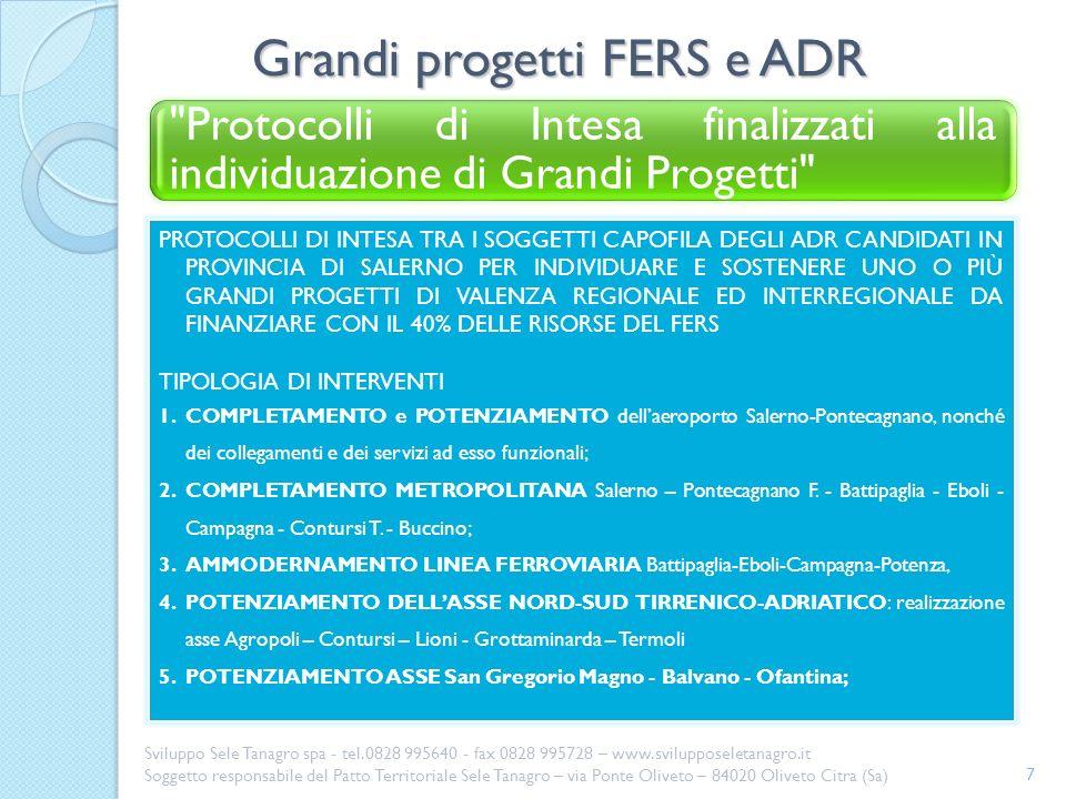 Grandi progetti FERS e ADR 7 Sviluppo Sele Tanagro spa - tel.0828 995640 - fax 0828 995728 – www.svilupposeletanagro.it Soggetto responsabile del Patt